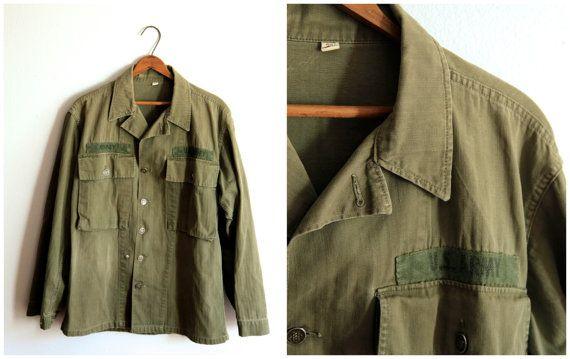 Vintage Military Jacket / Army Field Jacket / Olive Green / Men's 38 Regular, $58