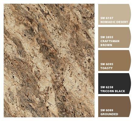 paint colors that match rainforest brown granite - Google Search