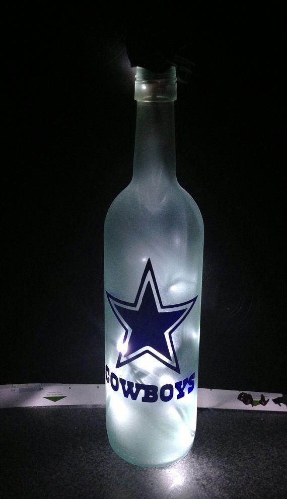 Dallas Cowboys Wine bottle lamp by Etchale on Etsy, $35.00