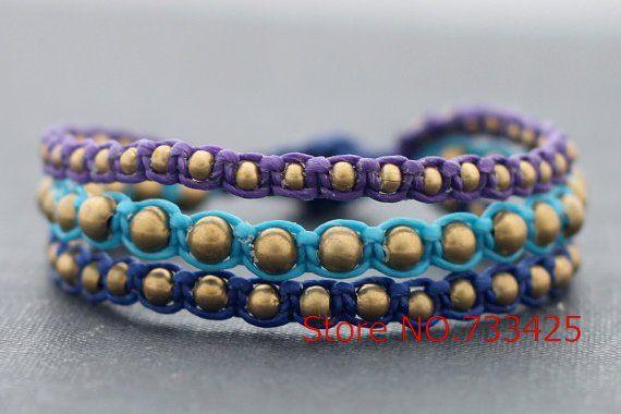 Brass Rocker Bracelet with mutlicolor waxed cord weaved,thai style brass bracelet for women,5pcs/lots free shipping