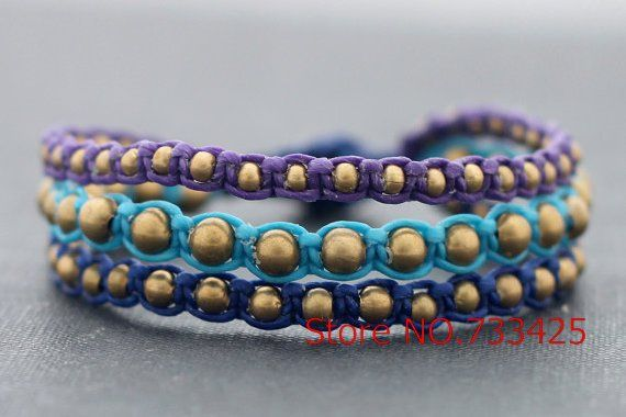 Brass Rocker Bracelet with mutlicolor waxed cord weaved,thai style brass bracelet for women,5pcs/lots free shipping