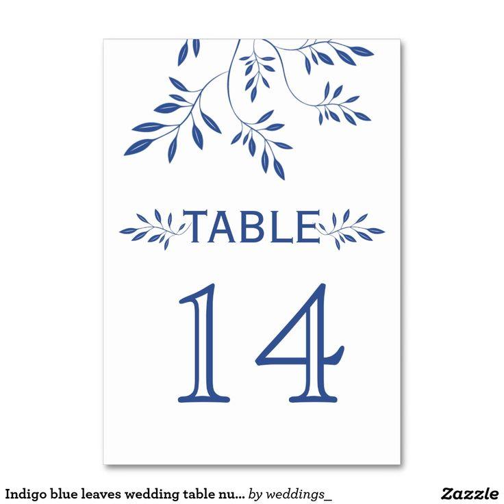 #Indigoblue leaves #wedding #tablenumber card