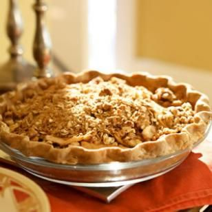 Oatmeal-Nut Crunch Apple Pie  This decadent pie is loaded with juicy apples and adorned with a streusel-lover's crunchy topping. The pie is best served the day it's made. If you're short on time, look for a ready-made whole-wheat pie crust in the freezer section of the store.