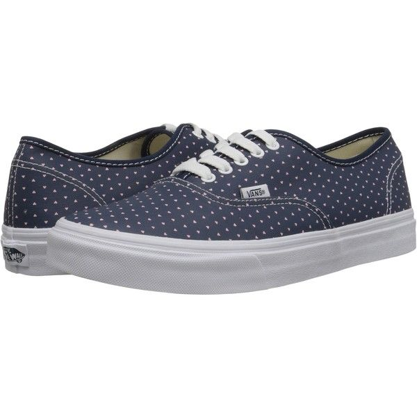 Vans Authentic Slim ((Micro Hearts) Dress Blues/True White) Skate... ($30) ❤ liked on Polyvore featuring shoes, sneakers, blue, blue white shoes, skate shoes, stitch shoes, blue shoes and vans shoes