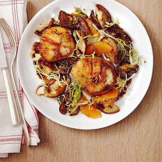 This Seared Scallops with Shiitakes recipe uses savory umami flavor from mushrooms to amp up the flavor without adding extra calories.