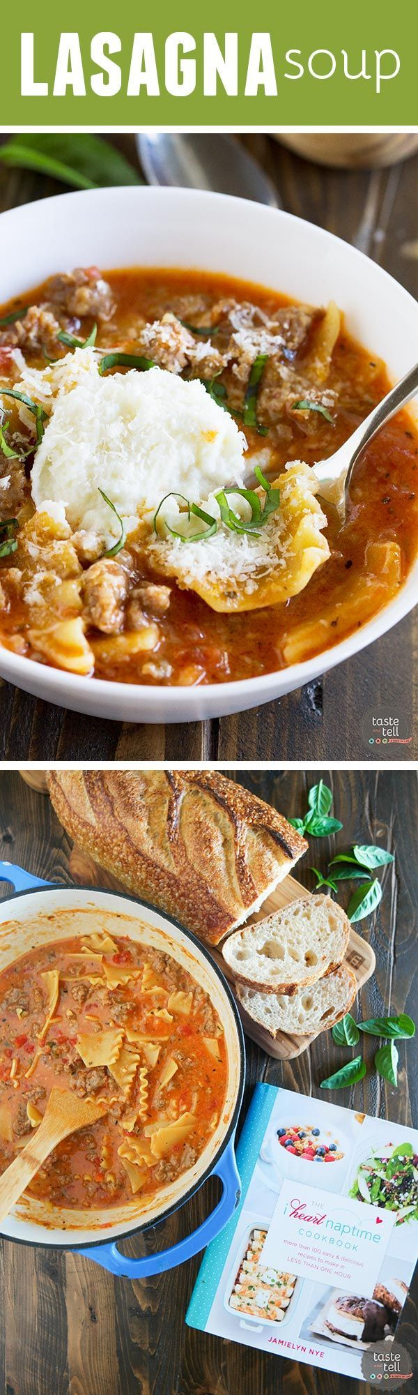 All of the flavors of lasagna in this easy, comforting Lasagna Soup Recipe! This soup is the perfect way to warm up with a taste of Italy.: