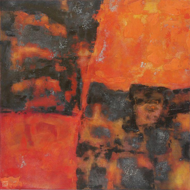 sobre el fuego acrilico y oleo sobre madera 50 x 50 cm  2008