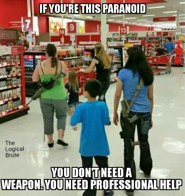 Gun Control. OMG! Is this a simple trip to Target??? Open carry law is indeed a threat to sane living.
