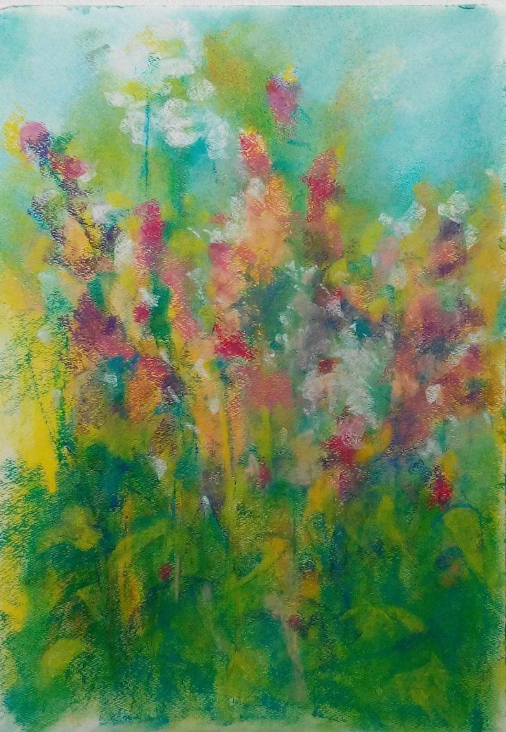 Wilde flowers. Pastel, paper.