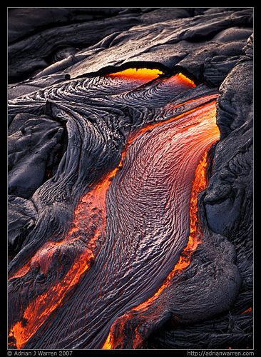 Hot stuff!  This lava forms part of the Kalapana Lava Flow on Hawai'i, and has erupted from nearby Mt Kilauea. Kilauea is home to the Hawai'ian volcanoe goddess Pele. Photography by Adrian Warren