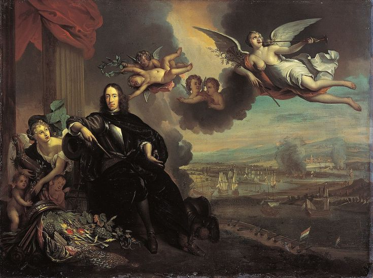 1667.Raid on the Medway.Second Anglo-Dutch War.Michiel de Ruyter. The apotheosis of Cornelis de Witt, with the raid on Chatham in the background. The original by Jan de Baen, kept in the City Hall of Dordrecht, was destroyed in 1672.