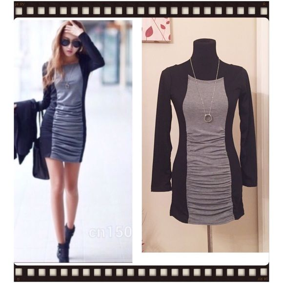 🎉HP🎉NWOT Black and Grey Mini Dress This dress is brand new without tags. It has no stains/flaws. The size says Large but it definitely fits a SMALL instead. Can be worn as a top with leggings or shorts. Dresses Mini