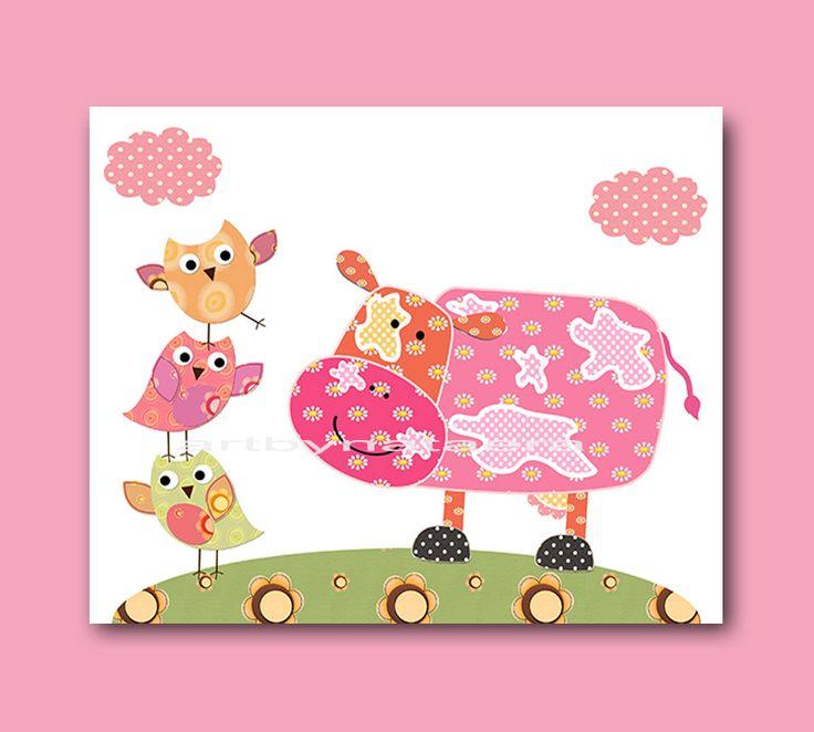 Baby Girl Wall Art Baby Girl Nursery Childrens Print Cow Nursery Decor Owls Nursery Art Print baby art cow owl decor pink rose green by artbynataera on Etsy