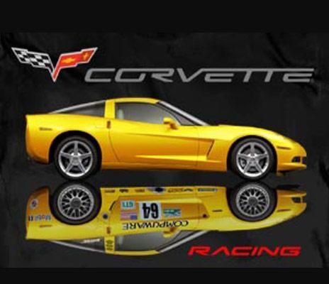 """Corvette """"Yellow Corvette Racing"""" T Shirt Black"""