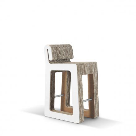 Carton Factory Seduta alta Hook Stool - profilo in mdf bianco Lovepromo
