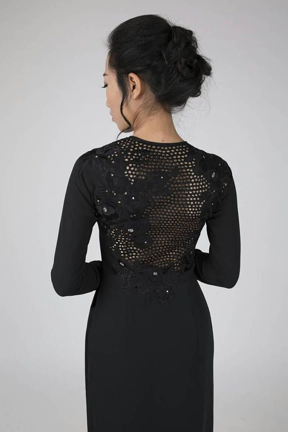 Black Ao Dai. Traditional Vietnamese dress beautiful rose