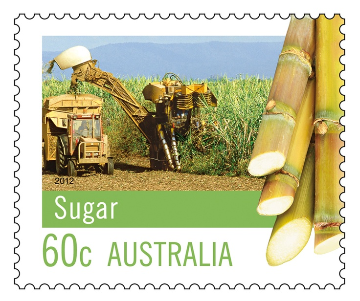 The Farming Australia #stamps series continues with this ode to Sugar Cane. Australia is 3rd largest raw sugar producer in the world. 80% of the our sugar is exported, making the industry the 7th largest agricultural exporter in Australia. Queensland accounts for about 95 per cent of Australia's raw sugar production, and New South Wales around 5 per cent.  This issue can be bought online:  http://auspo.st/OFWTKL