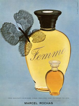 Rochas Femme … a homage to femininity, to women and to his future wife, Hélène . He offered the very first bottle of Femme to her on the wedding night...