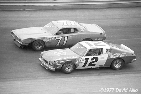 1977 Apr 17: Bobby Allison (12) AMC Matador races Neil Bonnett (71) Dodge Charger in the 17th annual Southeaster 500 NASCAR Winston Cup Grand National race at Bristol International Speedway in Bristol TN.