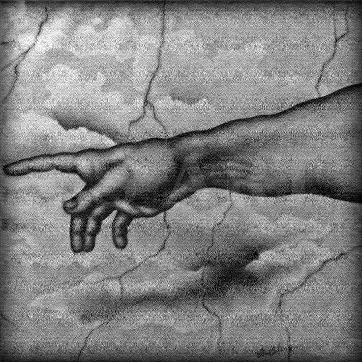 """Parte destra della tela """"Creazione"""", realizzata su tela 100x100 cm, a carboncino. http://www.cs4rt.com/portfolio  #disegnoSuTela #carboncino #disegno #grafica2D #tela #draw #CreazioneDiAdamo #Creazione #Michelangelo"""
