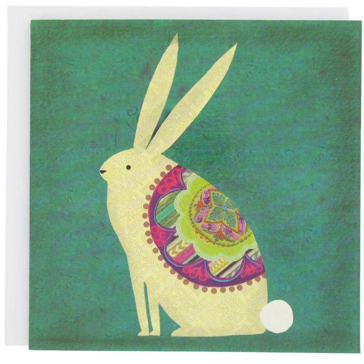 folk tiles rabbit card at Paperchase
