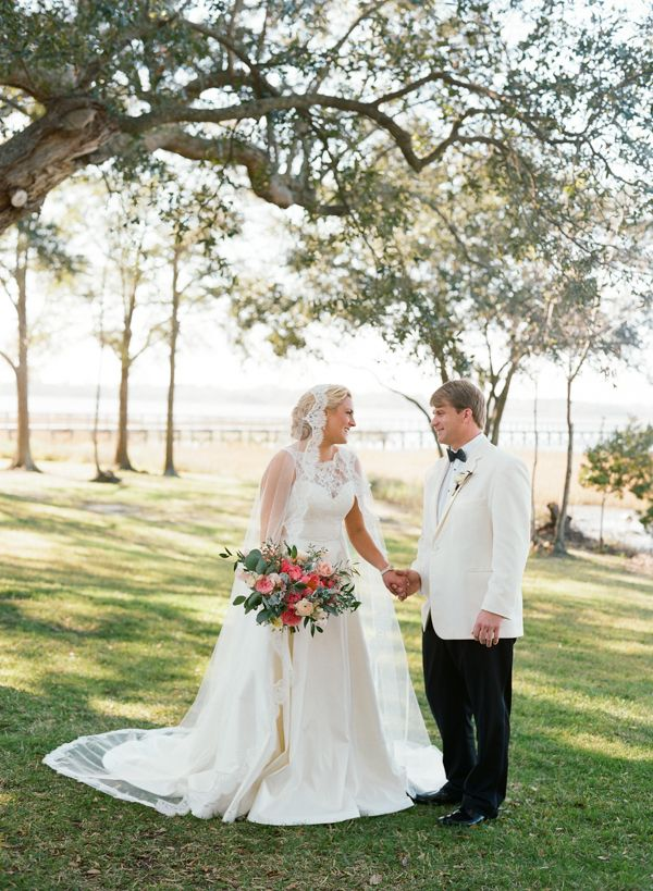 Josh & Emily's December wedding in Charleston, South Carolina at Lowndes Grove Plantation featured on Southern Weddings | Photo by Virgil Bunao