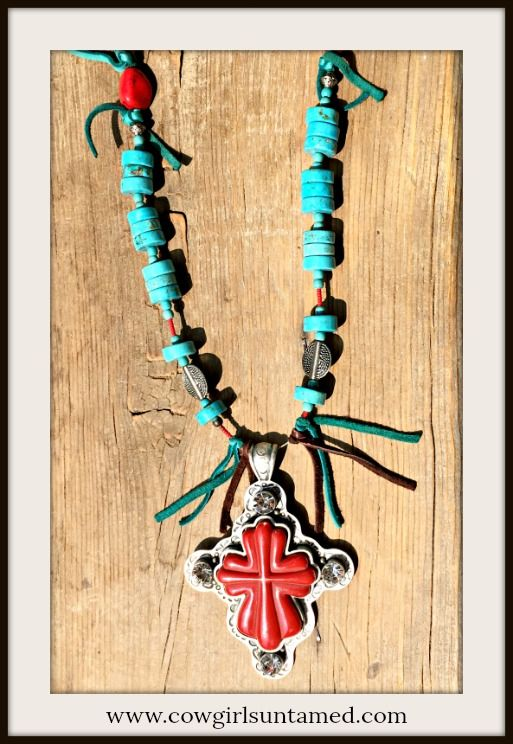 NEW STUNNING COWGIRL GYPSY NECKLACE Large Red Antique Silver Rhinestone Cross Pendant on Turquoise Beaded & Tassel Necklace  #necklace #longnecklace #large #cross #pendant #turquoise #rhinestone #Indianbead #beaded #bohemian #cowgirl #boutique #southwestern #western #jewelry