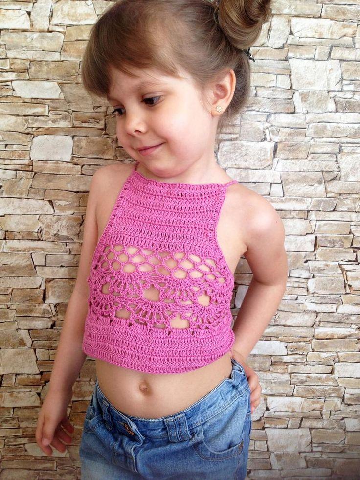 Crochet halter top Crocheted toddler baby top Open back
