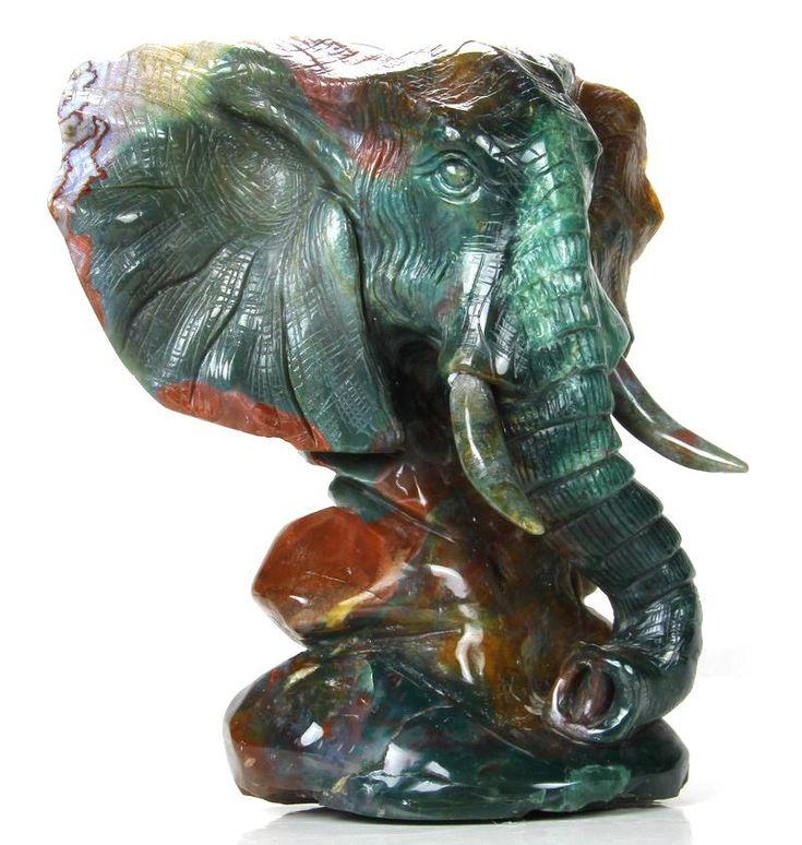 Indian Agate Crystal Elephant Head Sculpture