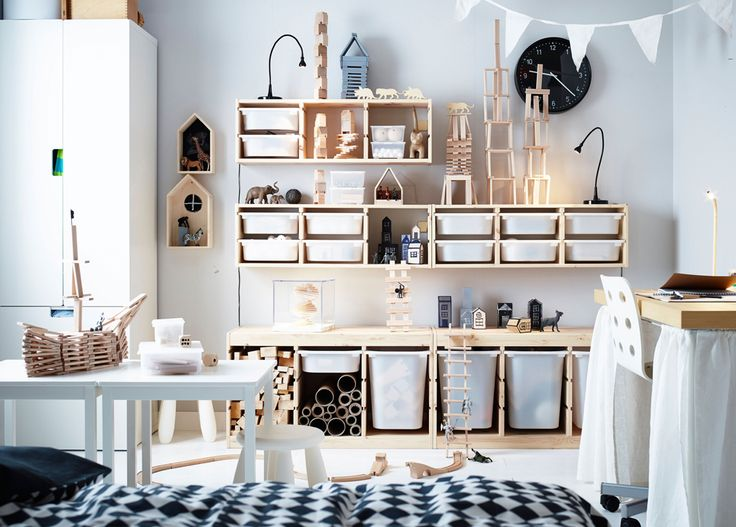 Pine storage furniture with white plastic pull-out boxes