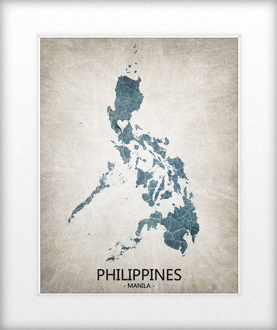Philippines Map Art Print Home Is Where The Heart Is by TRPrints