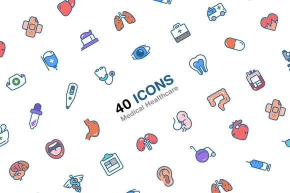 Medical Healthcare 40 icons by HNINE on Creative Market