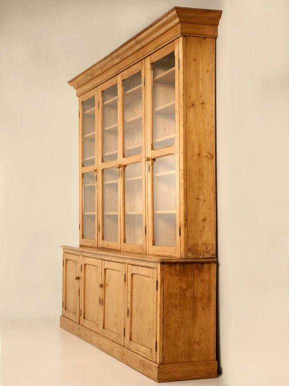 Original Unred Antique English Pine China Cabinet Bookcase At 1stdibs