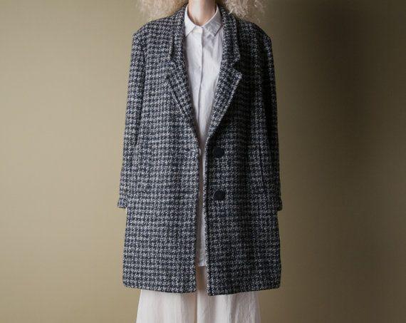 proto punk houndstooth tweed coat / wool por persephonevintage