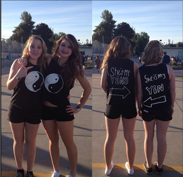 Yin and yang DIY shirts. My friend and I made cred to me) we did it for twin day!! -bre ...