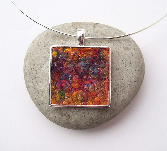 Lost in Clouds of Colour    New necklace. Colourful strands of sari silk waste, felt and machine stitch.