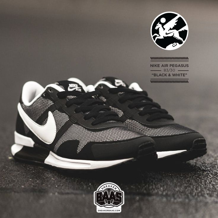 """#nike #air #pegasus #black #sneakerbaas #baasbovenbaas  Nike Air Pegasus """"Black & White"""" - Available online now, priced at €99,99  For more info about your order please send an e-mail to webshop #sneakerbaas.com!"""