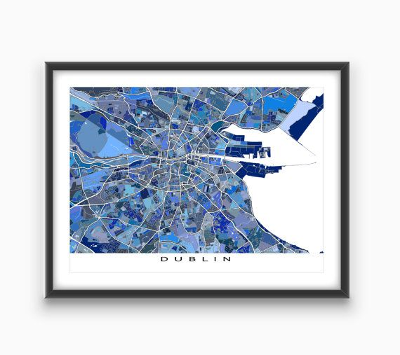 Love Dublin Ireland? Planning a trip? Celebrate this historic and beautiful city with this Dublin map print.  This city map has an abstract art design made from of lots of little blue shapes. Each shape is actually a city block or a piece of land - and these shapes combine like a puzzle or mosaic to form this #Dublin print. #DublinMap #Ireland #map