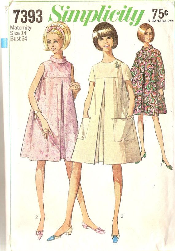 1960s Vintage Maternity Dress Pattern Tent Dress by CherryCorners, $8.00