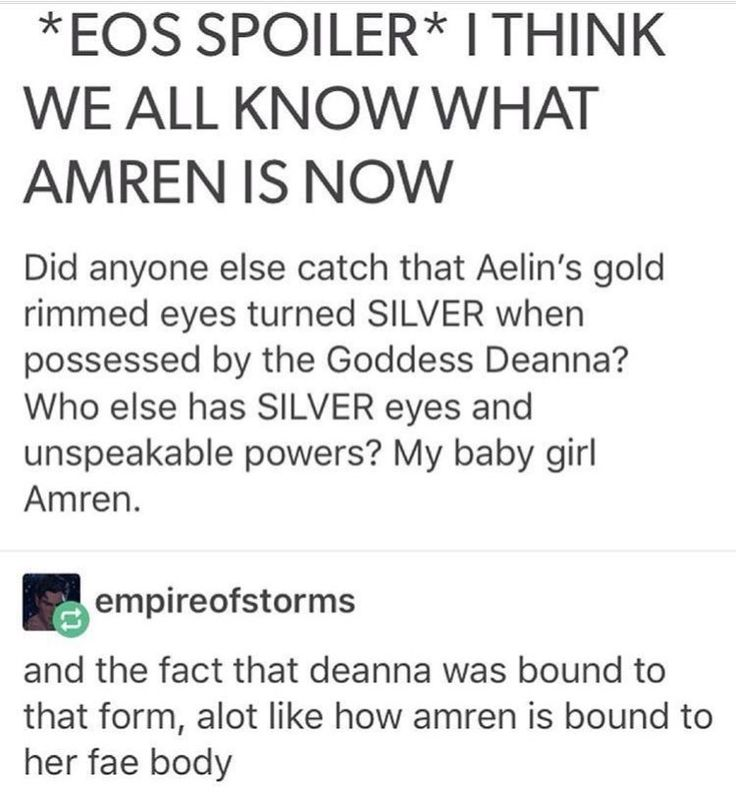 I don't think Amren is Deanna, but what of she is from another world where common creatures are much more powerful than the beings in the ACOTAR world, just as the gods are in TOG?