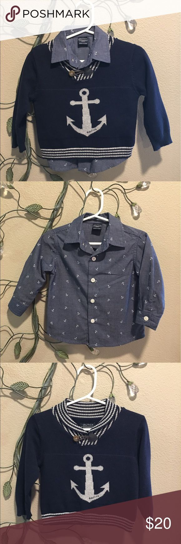⚓️Nautica⚓️ Toddler Boy Anchor Shirt & Sweater Set EUC! Long sleeve button up anchor shirt and matching anchor sweater! This set is so handsome!!😍⚓️💙 Nautica Matching Sets