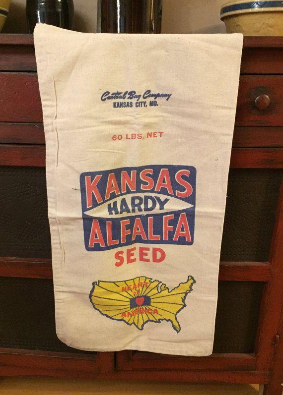 Kansas Alfalfa Seed Sack Heavy Cotton Fabric by AStringorTwo
