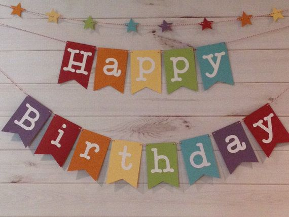 Rainbow Happy Birthday Banner with star garland, Birthday Banner on Etsy, $22.50