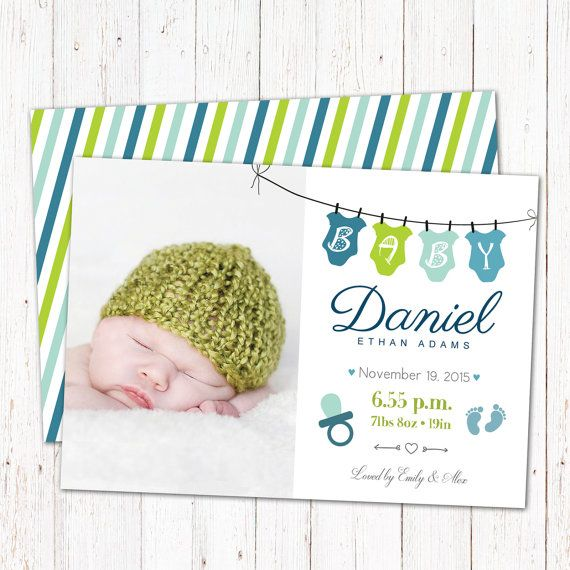 Personalized birth announcement card. Digital by GraphicCorner