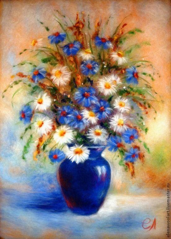 Купить Полевые цветы в синей вазе - тёмно-синий, картина из шерсти, букет цветов