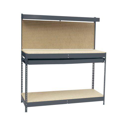 "Edsal MRWB-4 Gray Heavy Duty Steel Workbench with Single Drawer, 48"" Width x 60"" Height x 24"" Depth EDSAL,http://www.amazon.com/dp/B002UPPT36/ref=cm_sw_r_pi_dp_CRSntb1GR5STC8XX $125"