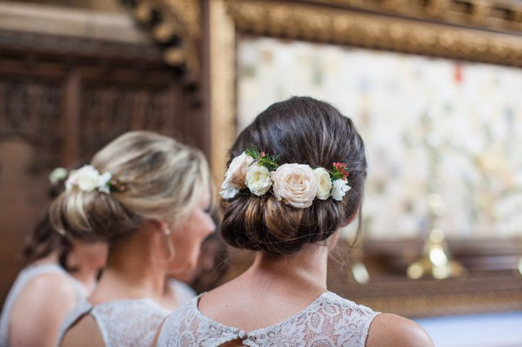 Pretty brides,aid hair flowers by Wild Orchid for wedding at Woburn Sculpture gallery.  Blush and white wedding flowers