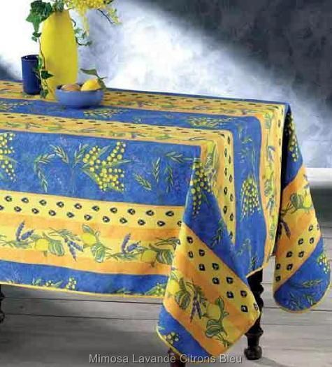 60x96 Rectangle Citron U0026 Mimosa French Provence Blue Yellow Tablecloth New