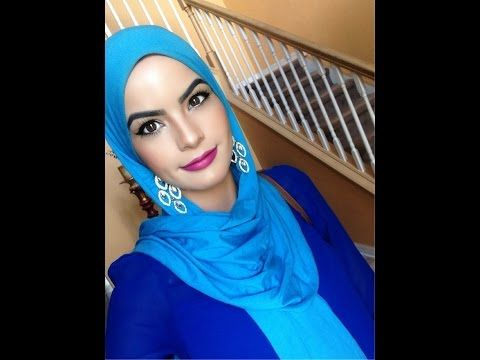 Hijab style with earrings showing