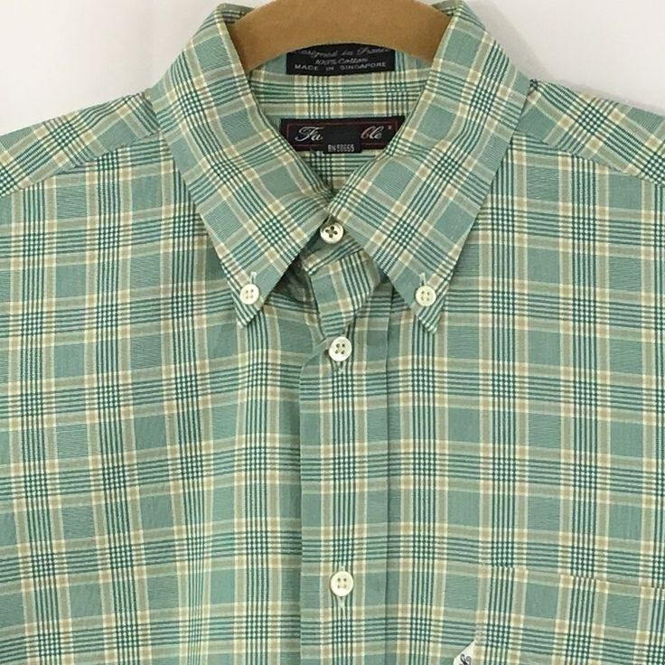 Faconnable Shirt Button Front Sz 1 Plaid Green Khaki Mens 14.5 R Long Sleeve #Faonnable #ButtonFront